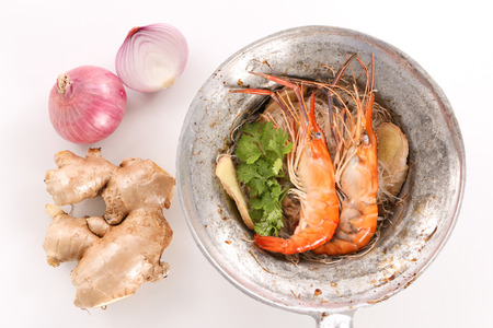 Thai baked shrimp with glass noodle in white background - top view
