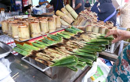 Kanom Jak, Thai sweetmeat made of flour, coconut and sugar at  Nong Mon, Bang Saen, Thailand