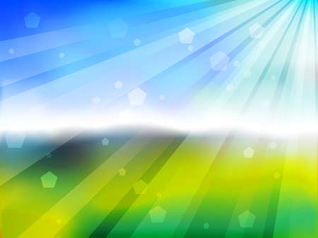 rises: Green bokeh with sun rise Illustration