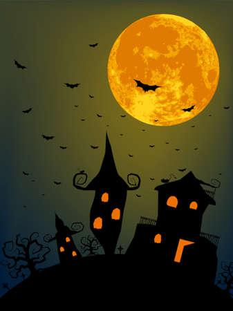 Halloween night with full moon.  Vector