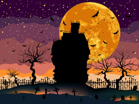 Scary Halloween Dark House with Copy Space  Vector