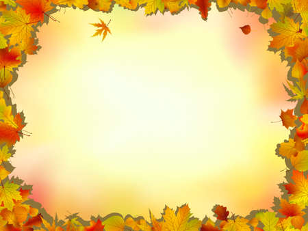 linens: Maple and oak leaves frame on soft background for Thanksgiving and autumn related themes.