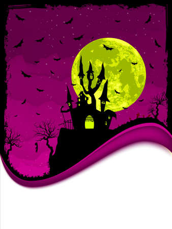 Scary Halloween Castle with Copy Space.  Vector
