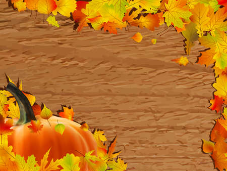 Autumn background with Pumpkin on wooden board. photo