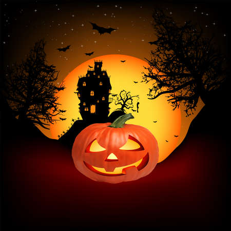 Vector Haunted House on a Graveyard hill at night with full moon.  Stock Photo - 8089686
