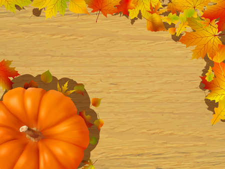 Fall leaves making a border with a gourd on a brown background, fall border. photo