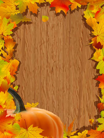 patch: Autumn background with Pumpkin on wooden board.