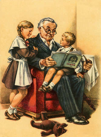 Vintage card Grandfather reading a book for good night.