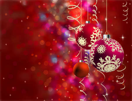 Christmas background with multicolor baubles, golden streamers and defocused lights. EPS8 file included Stock Photo - 8187722