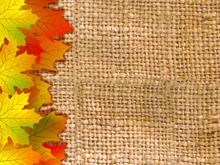 Thank you card on a bright autumn background of leaves