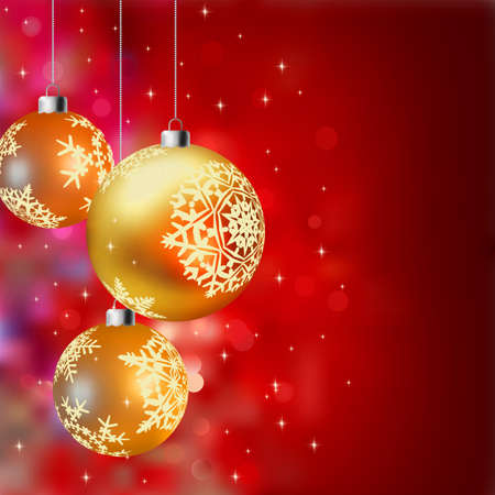 Christmas background with gold baubles, defocused lights (no transparencies used). EPS8 Stock Photo - 8187846