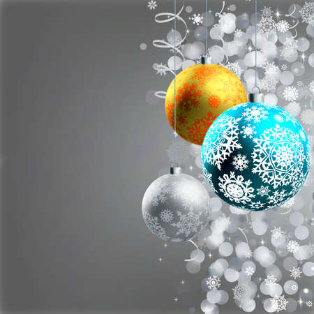 Winter background with Christmas decoration, balls for xmas design. EPS8 Stock Photo - 8188033