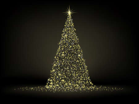 Abstract golden christmas tree on black background Stock Photo - 8219700