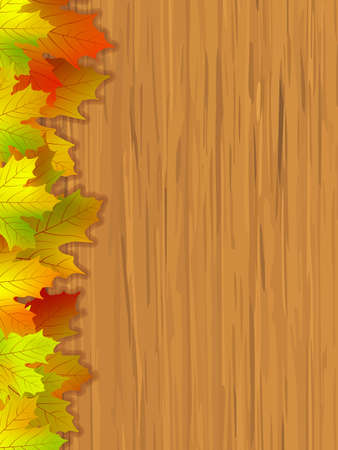 Fall coloured leaves making a border on a wooden background, Fall Leaves.  photo
