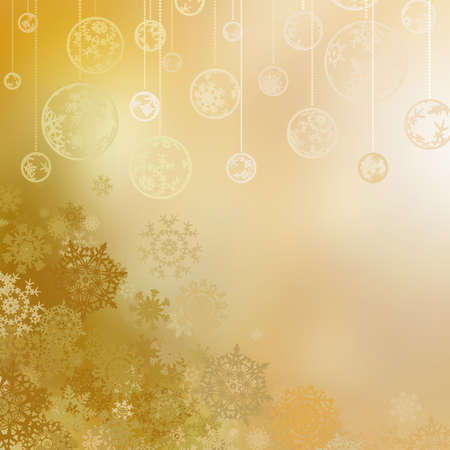 newyear card: Golden christmas background with baubles .