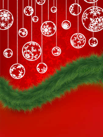 Christmas background with snowflakes tree branches.  photo