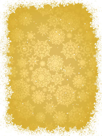 Gold christmas background with snowflakes.  Vector