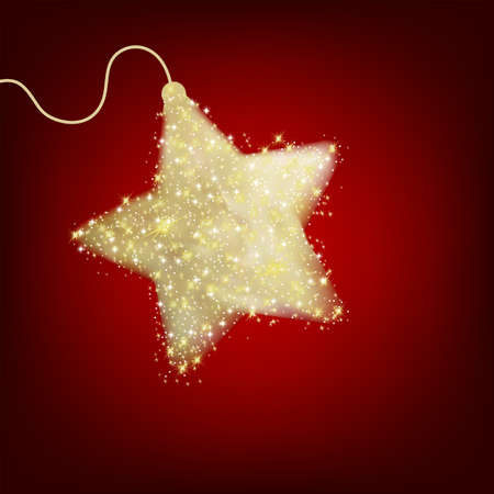 Christmas star illustration - postcard with a twinkling red star. EPS 8 vector file included Stock Vector - 8250138