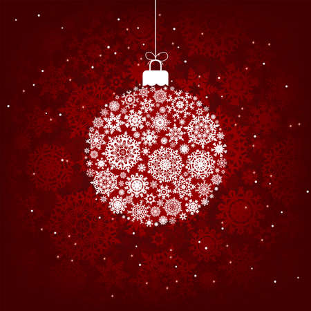 Christmas decoration made from red and white snowflakes.   Vector
