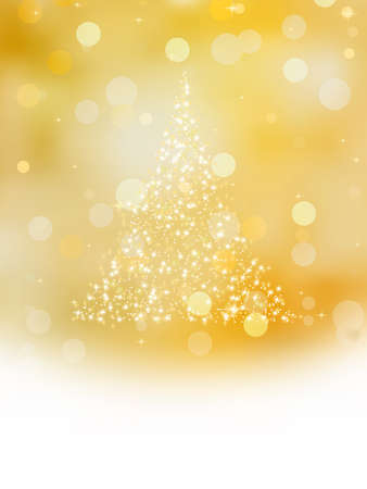 Christmas tree illustration on golden background. Stock Vector - 8250191