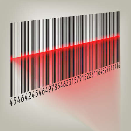 Bar code with laser light Stock Vector - 8315122