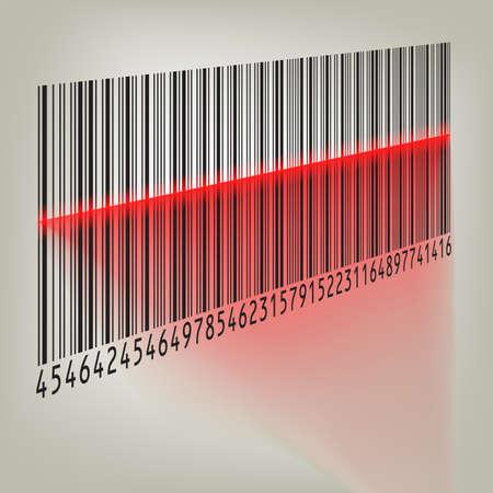 scanned: Bar code with laser light Illustration