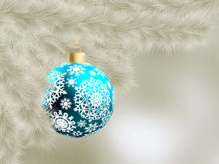 Neutral color card christmas-tree and decoration ball.  Vector