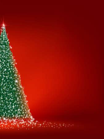 Abstracte groene kerstboom op rode achtergrond. Stockfoto