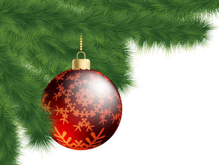 Christmas-tree and decoration ball.  Stock Photo - 8315213