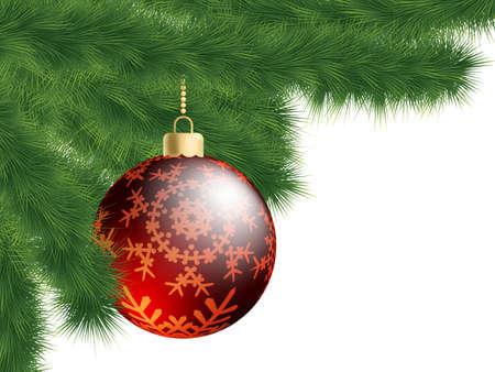 Christmas-tree and decoration ball.  Stock Photo - 8315213