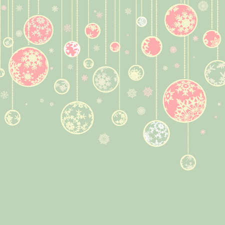 Retro christmas template with ball and snowflakes for vintage card design. Stock Photo - 8315282