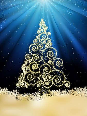 goldy: Plantilla de a�o nuevo con estrellas, copos de nieve y �rboles de Navidad.