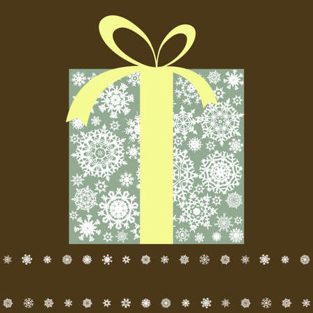 Retro gift box with bow.  Vector