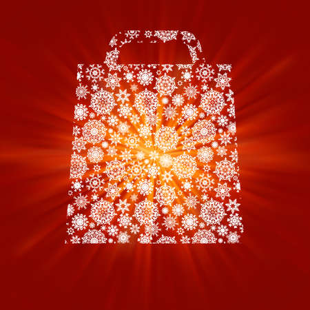 Bag For Shopping With snowflakes, On gold red Background. EPS 8 vector file included Stock Photo - 8362225