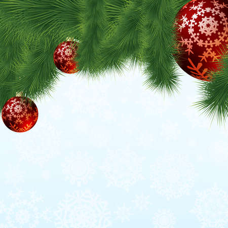 Evergreen branches with red ornaments. EPS 8 vector file included photo