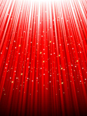 descending: Festive red abstract background with stars descending on rays of light. EPS 8 vector file included