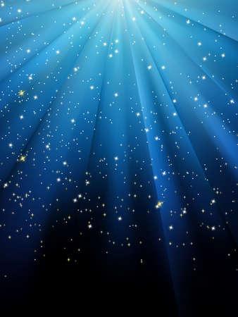 estrellas: Estrellas sobre fondo de rayas azul. Patr�n festivo gran para temas de invierno o Navidad. 8 EPS vectoriales archivo incluido