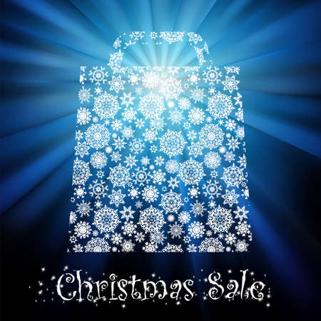 Bag For Shopping With snowflakes, On gold red Background. EPS 8 vector file included Stock Photo - 8362279