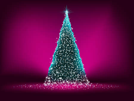 Abstract green christmas tree on Purple background.  photo