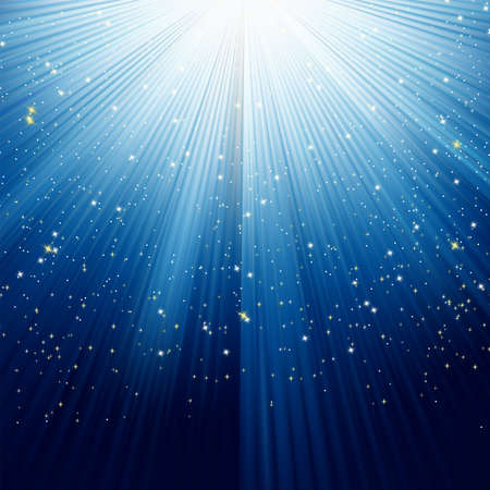 descending: Snowflakes and stars descending on a path of blue light. Illustration