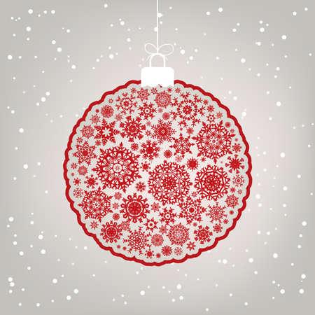 claret red: Plantilla de retro - ilustraci�n de bola de Navidad Beautiful.