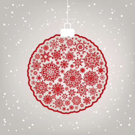 snow storm: Retro template - Beautiful Christmas ball illustration.