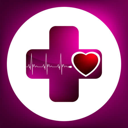Heart and heartbeat symbol. Easy Editable Template. Without a transparency. EPS 8 vector file included Stock Vector - 8462703