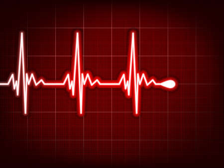 cardiograph: Heart cardiogram with shadow on it deep red. EPS 8 vector file included Illustration