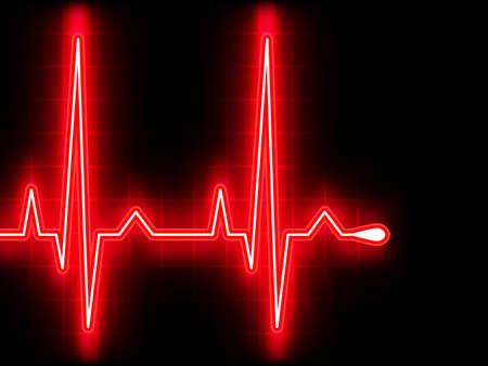 Red heart beat. Ekg graph.
