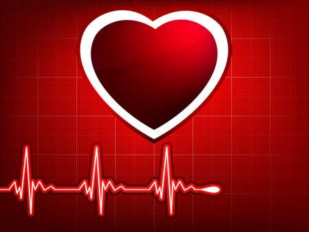 Vettore normale ecg rosso sfondo, battito cardiaco. Grande per scopi scientifici, medici. 8 EPS vettoriale file incluso  Archivio Fotografico - 8485900