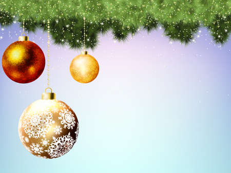 Evergreen branches with gold balls. Vector