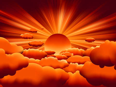 sunbeams: sunburst. sunset on cloud.  Illustration