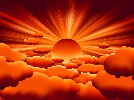 Sunburst. zons ondergang op wolk.