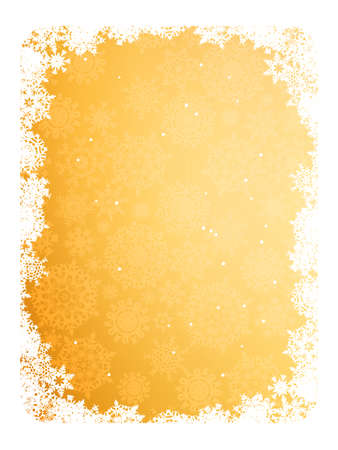 Gold frame with gold snowflakes.  Vector